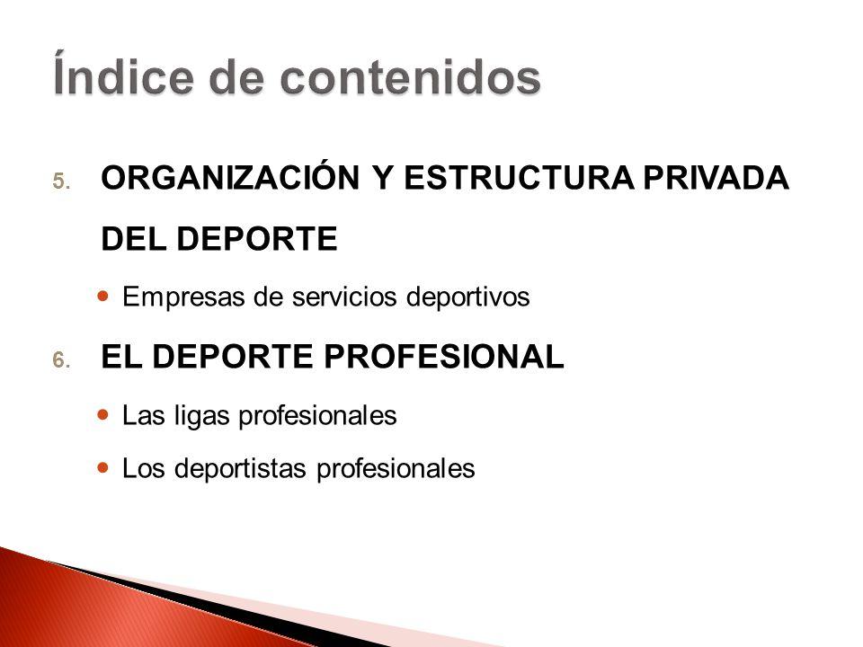 5. ORGANIZACIÓN Y ESTRUCTURA PRIVADA DEL DEPORTE Empresas de servicios deportivos 6. EL DEPORTE PROFESIONAL Las ligas profesionales Los deportistas pr