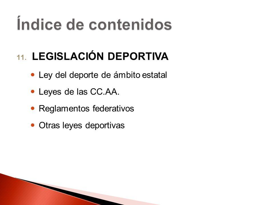 11. LEGISLACIÓN DEPORTIVA Ley del deporte de ámbito estatal Leyes de las CC.AA. Reglamentos federativos Otras leyes deportivas