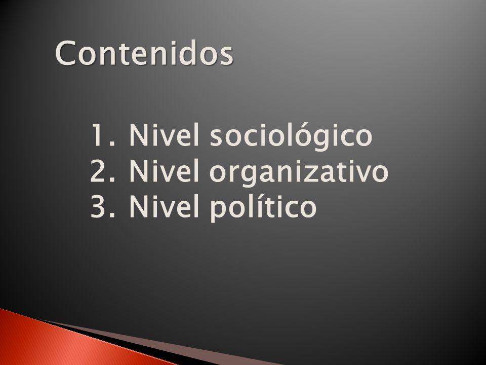 Contenidos 1.Nivel sociológico 2.Nivel organizativo 3.Nivel político