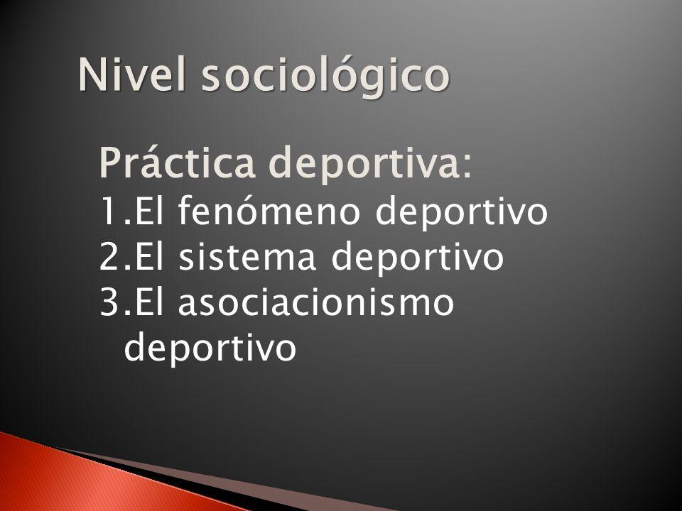 Nivel sociológico Práctica deportiva: 1.El fenómeno deportivo 2.El sistema deportivo 3.El asociacionismo deportivo