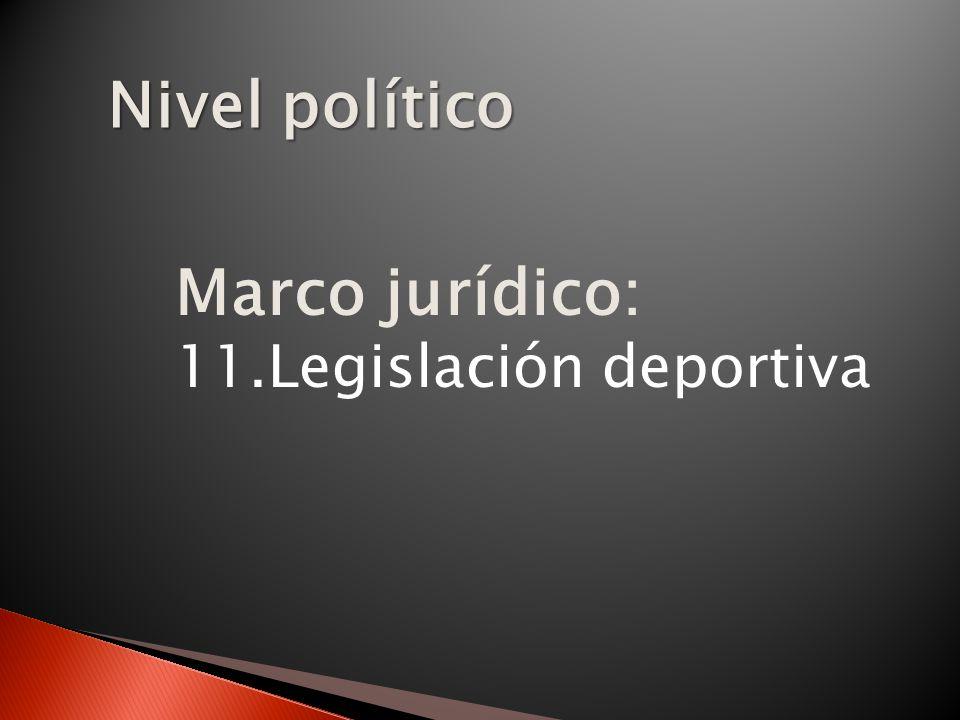 Nivel político Marco jurídico: 11.Legislación deportiva