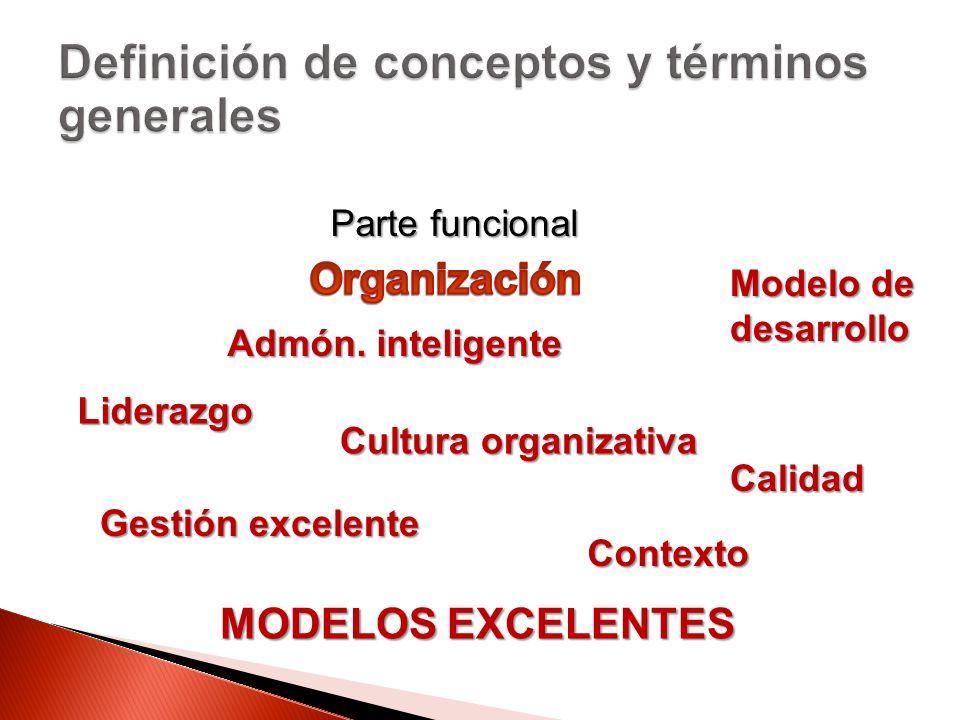 Parte funcional MODELOS EXCELENTES Admón. inteligente Liderazgo Cultura organizativa Gestión excelente Calidad Modelo de desarrollo Contexto