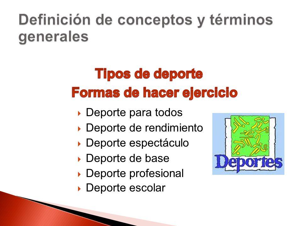 Deporte para todos Deporte de rendimiento Deporte espectáculo Deporte de base Deporte profesional Deporte escolar