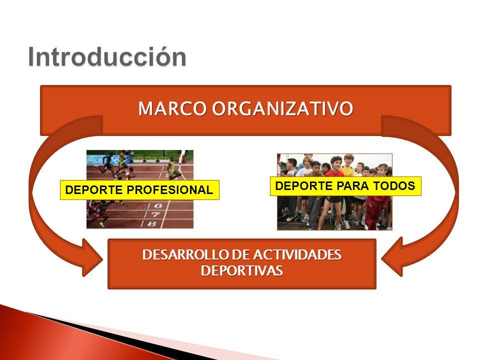 MARCO ORGANIZATIVO DESARROLLO DE ACTIVIDADES DEPORTIVAS DEPORTE PROFESIONAL DEPORTE PARA TODOS