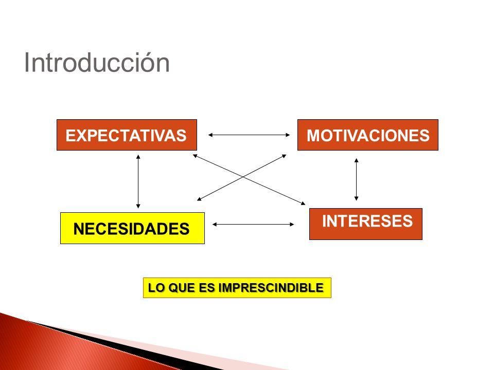 EXPECTATIVASMOTIVACIONES INTERESES NECESIDADES Introducción LO QUE ES IMPRESCINDIBLE