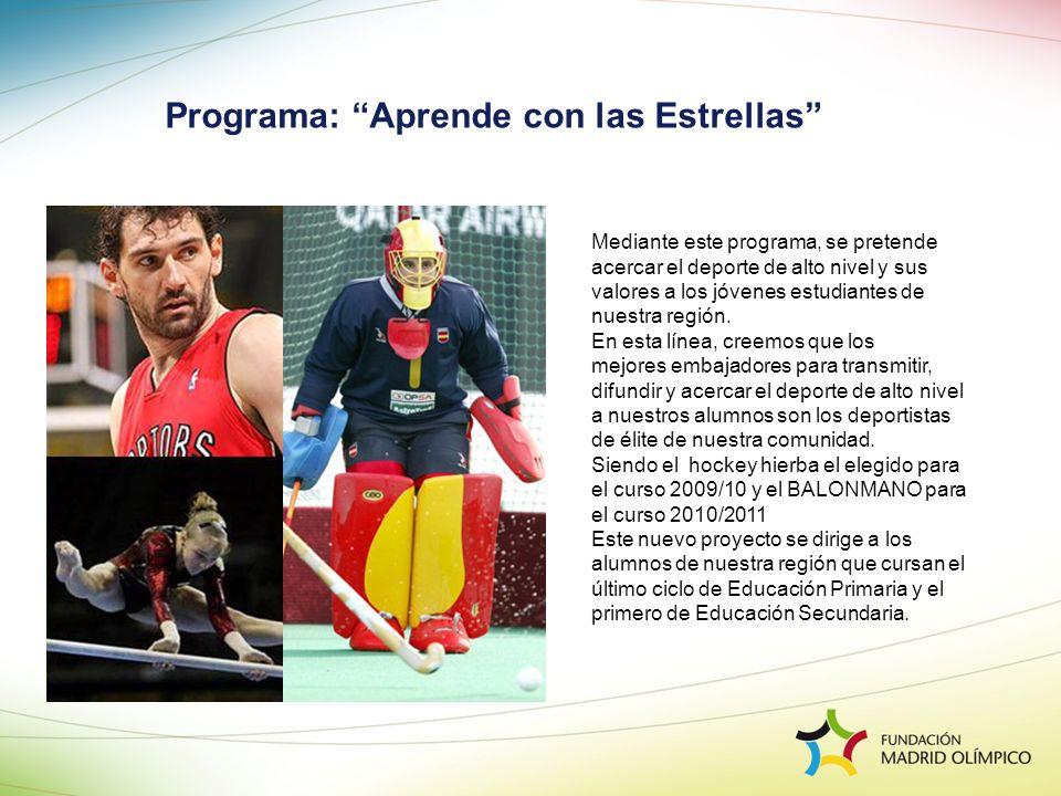 Programa: Aprende con las Estrellas Mediante este programa, se pretende acercar el deporte de alto nivel y sus valores a los jóvenes estudiantes de nu