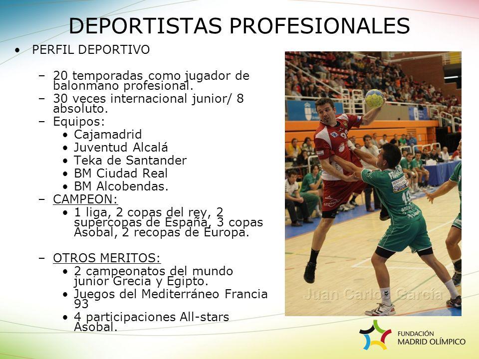 PERFIL DEPORTIVO –20 temporadas como jugador de balonmano profesional. –30 veces internacional junior/ 8 absoluto. –Equipos: Cajamadrid Juventud Alcal