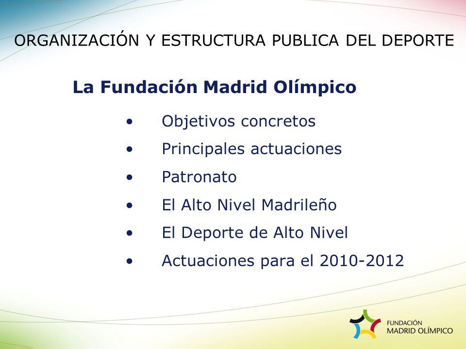 Objetivos concretos Principales actuaciones Patronato El Alto Nivel Madrileño El Deporte de Alto Nivel Actuaciones para el 2010-2012 La Fundación Madr