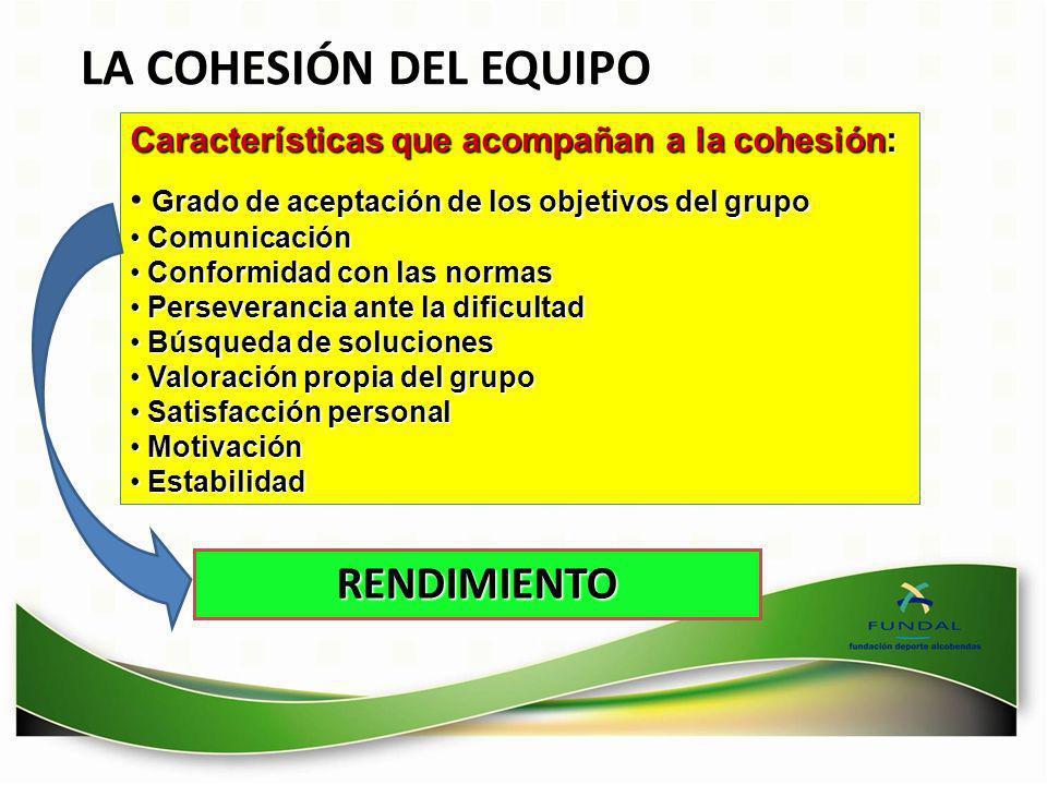 LA COHESIÓN DEL EQUIPO Características que acompañan a la cohesión: Grado de aceptación de los objetivos del grupo Grado de aceptación de los objetivo