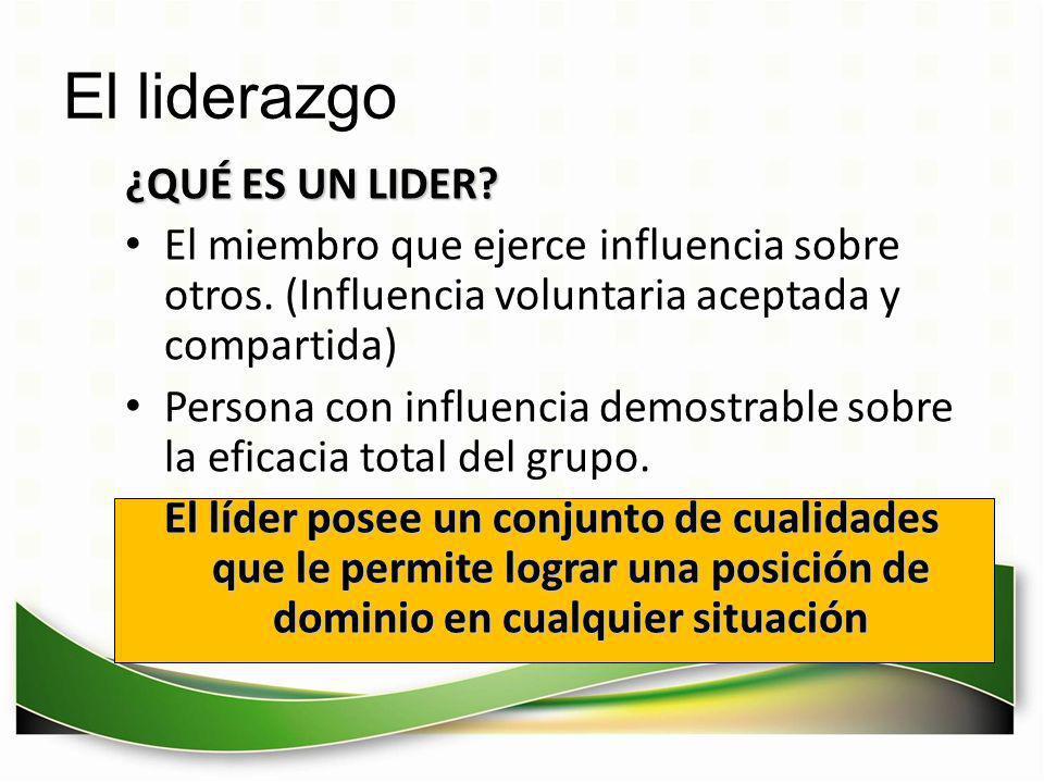 El liderazgo ¿QUÉ ES UN LIDER? El miembro que ejerce influencia sobre otros. (Influencia voluntaria aceptada y compartida) Persona con influencia demo