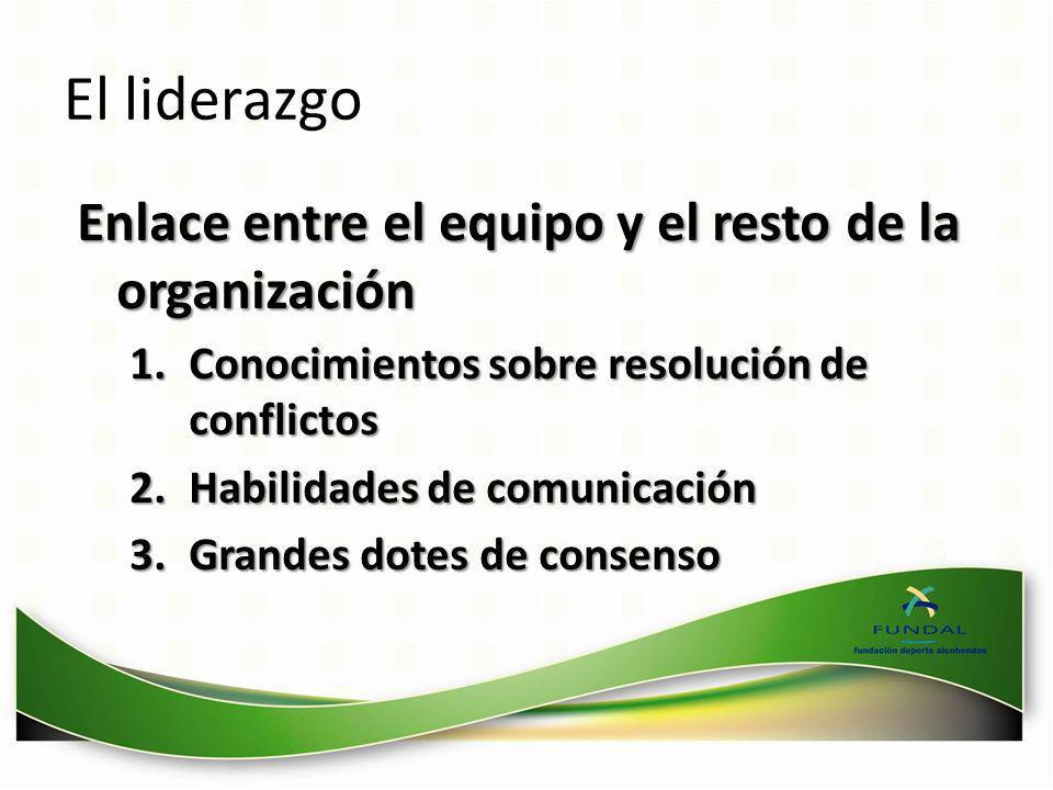 El liderazgo Enlace entre el equipo y el resto de la organización 1.Conocimientos sobre resolución de conflictos 2.Habilidades de comunicación 3.Grand