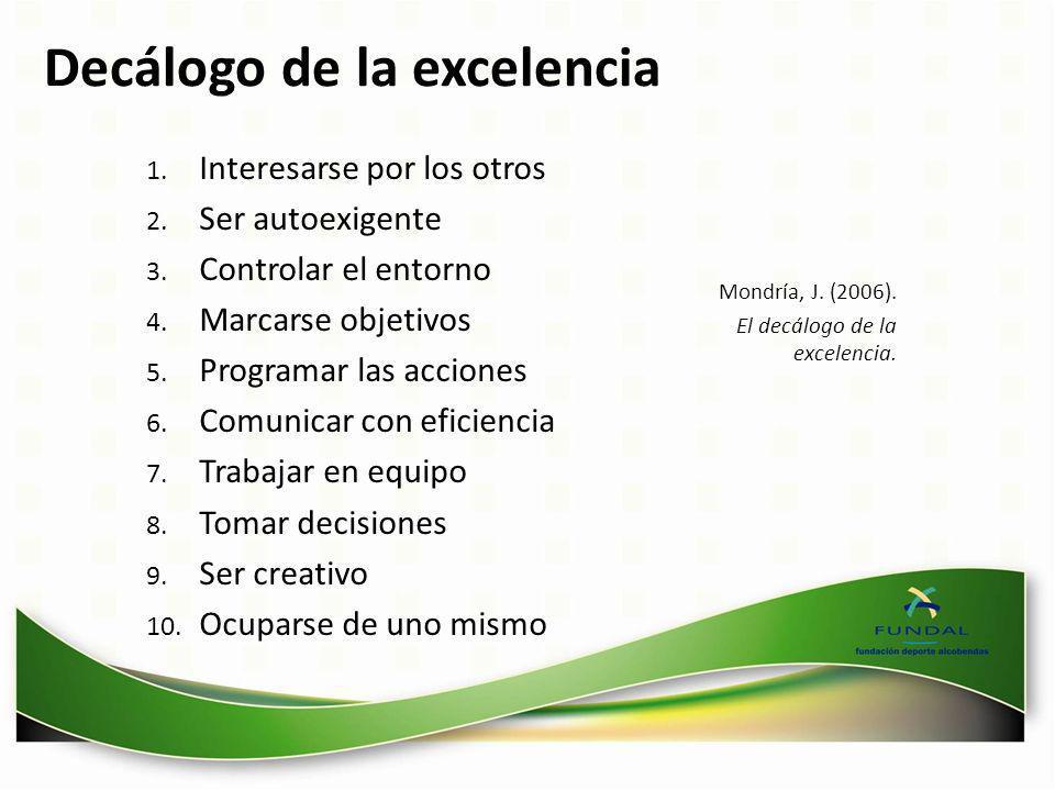 Decálogo de la excelencia 1. Interesarse por los otros 2. Ser autoexigente 3. Controlar el entorno 4. Marcarse objetivos 5. Programar las acciones 6.
