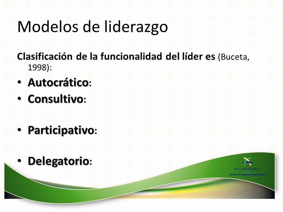 Modelos de liderazgo Clasificación de la funcionalidad del líder es (Buceta, 1998): Autocrático Autocrático : Consultivo Consultivo : Participativo Pa
