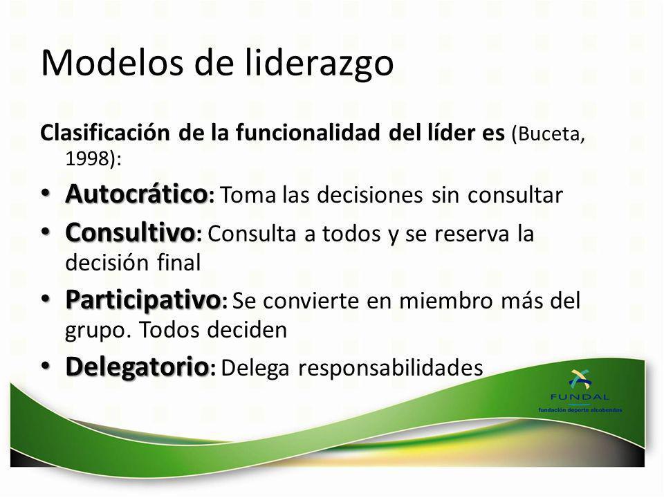 Modelos de liderazgo Clasificación de la funcionalidad del líder es (Buceta, 1998): Autocrático Autocrático : Toma las decisiones sin consultar Consul