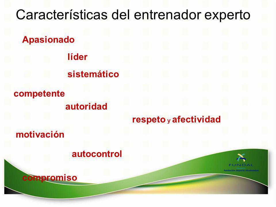 Características del entrenador experto Apasionado líder sistemático competente autoridad respeto y afectividad motivación autocontrol compromiso