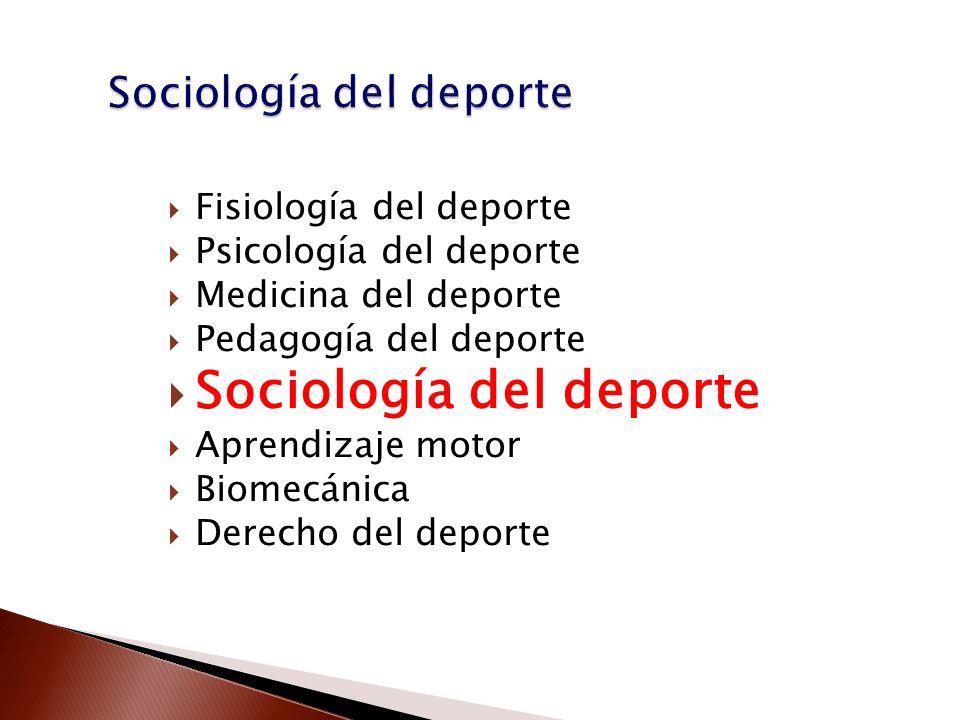 Fisiología del deporte Psicología del deporte Medicina del deporte Pedagogía del deporte Sociología del deporte Aprendizaje motor Biomecánica Derecho