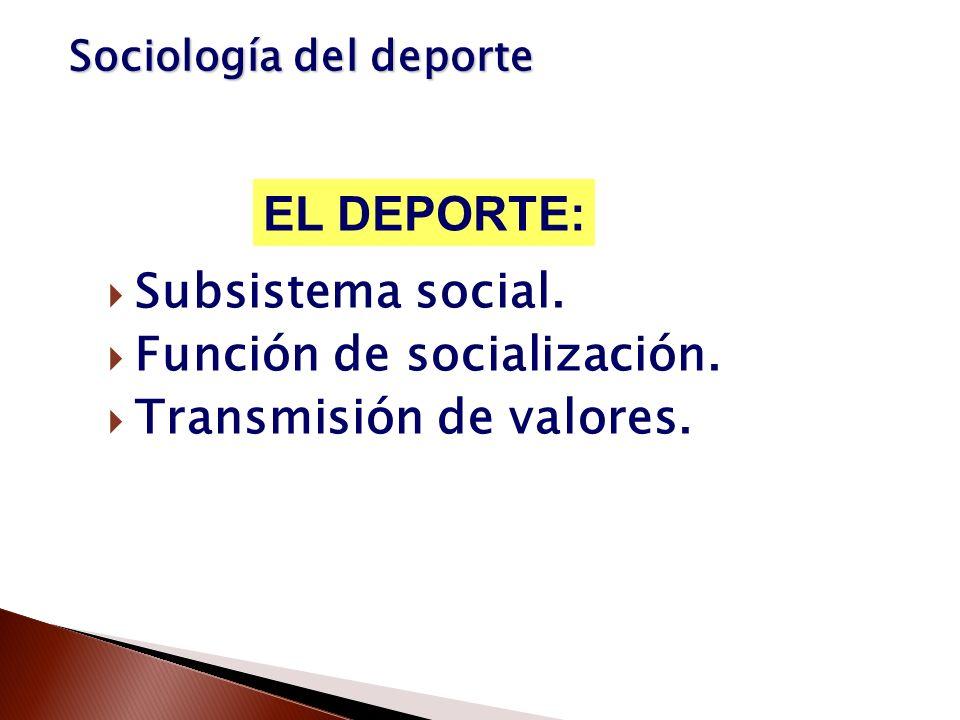 Subsistema social. Función de socialización. Transmisión de valores. EL DEPORTE: Sociología del deporte