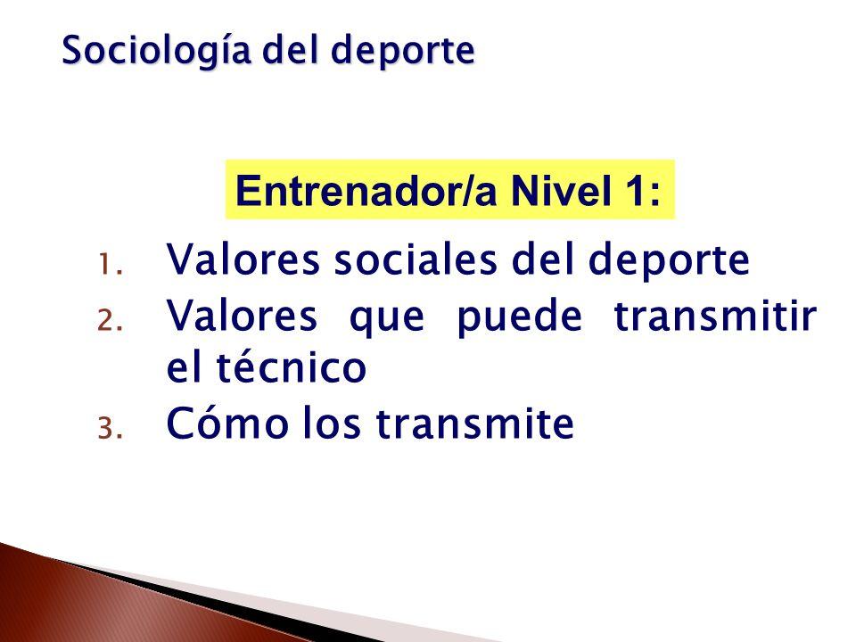 1. Valores sociales del deporte 2. Valores que puede transmitir el técnico 3. Cómo los transmite Entrenador/a Nivel 1: Sociología del deporte