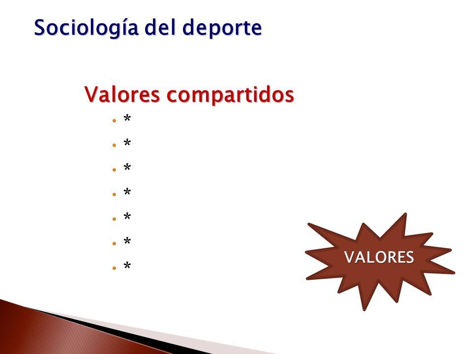 Valores compartidos * VALORES Sociología del deporte