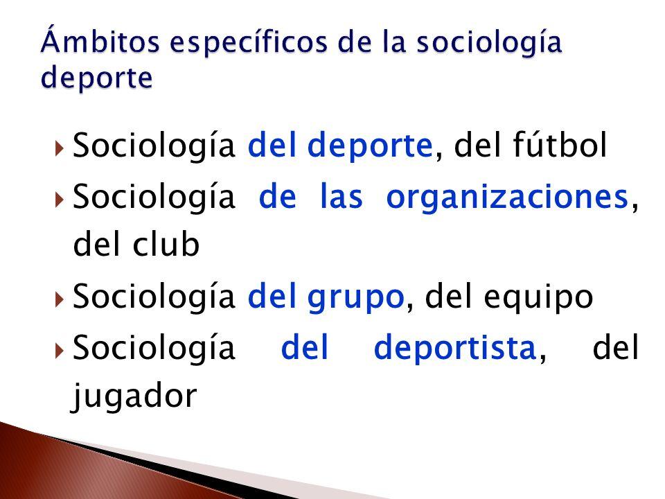 Sociología del deporte, del fútbol Sociología de las organizaciones, del club Sociología del grupo, del equipo Sociología del deportista, del jugador