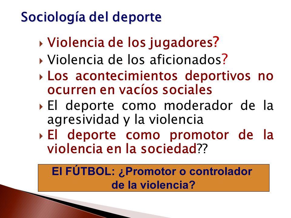 El FÚTBOL: ¿Promotor o controlador de la violencia? Violencia de los jugadores ? Violencia de los aficionados ? Los acontecimientos deportivos no ocur