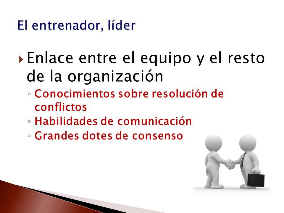 Enlace entre el equipo y el resto de la organización Conocimientos sobre resolución de conflictos Habilidades de comunicación Grandes dotes de consens