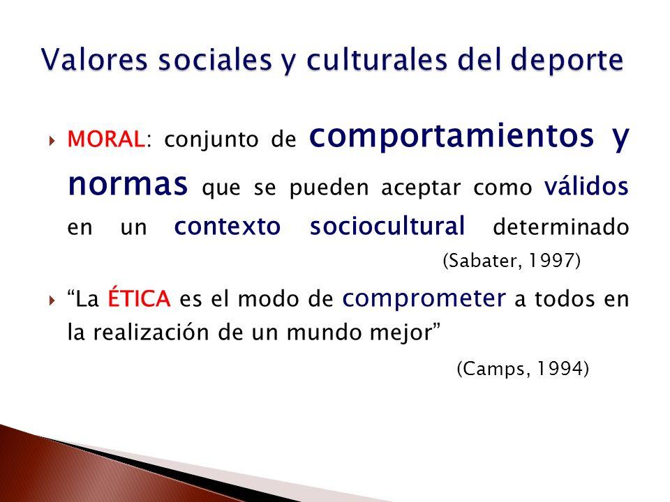 MORAL: conjunto de comportamientos y normas que se pueden aceptar como válidos en un contexto sociocultural determinado (Sabater, 1997) La ÉTICA es el