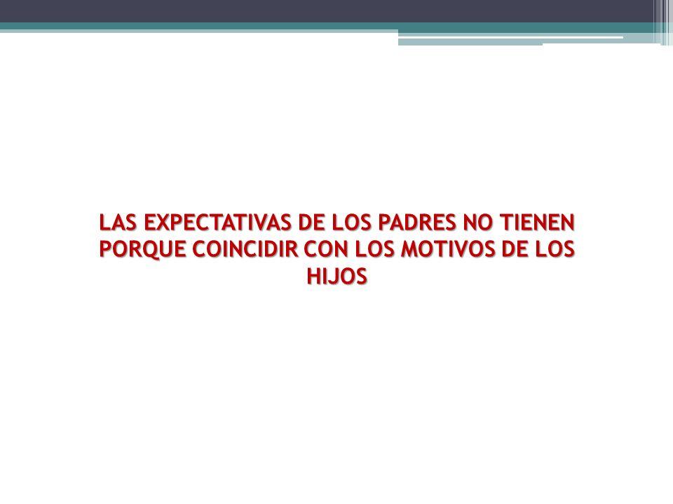 LAS EXPECTATIVAS DE LOS PADRES NO TIENEN PORQUE COINCIDIR CON LOS MOTIVOS DE LOS HIJOS