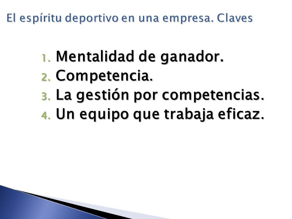 El espíritu deportivo en una empresa. Claves 1. Mentalidad de ganador. 2. Competencia. 3. La gestión por competencias. 4. Un equipo que trabaja eficaz