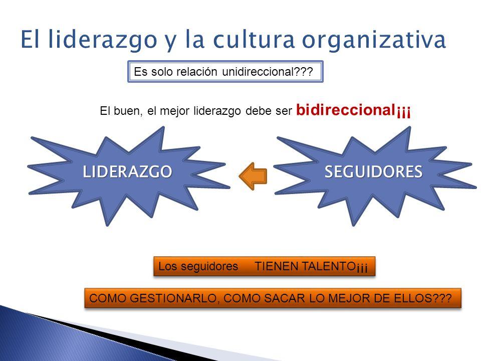 LIDERAZGO SEGUIDORES Es solo relación unidireccional??? El buen, el mejor liderazgo debe ser bidireccional¡¡¡ Los seguidores TIENEN TALENTO¡¡¡ COMO GE