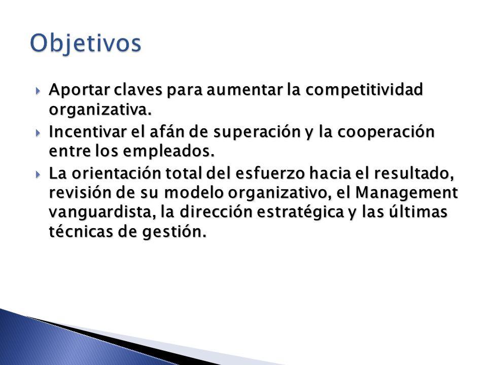 Aportar claves para aumentar la competitividad organizativa. Aportar claves para aumentar la competitividad organizativa. Incentivar el afán de supera