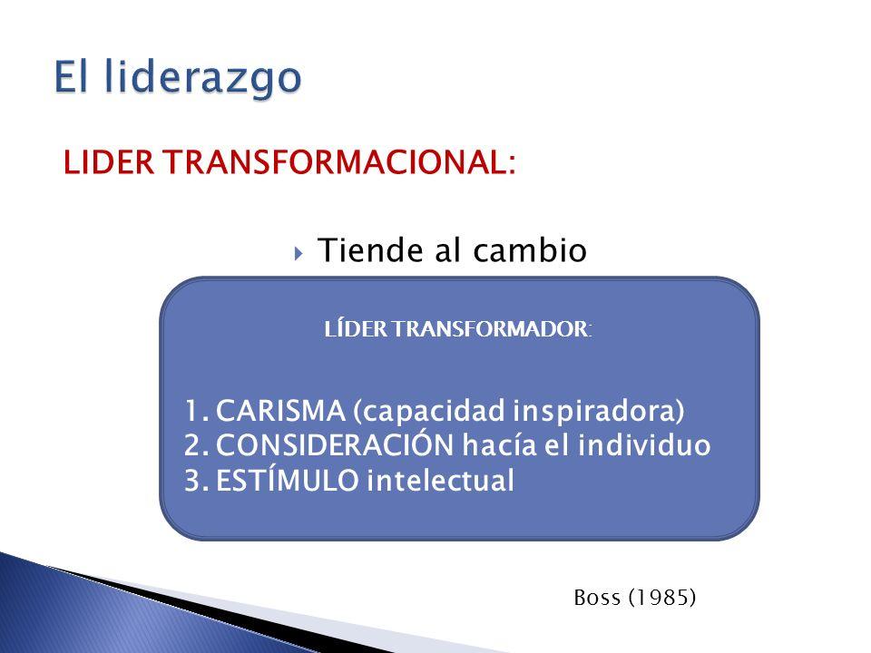 LIDER TRANSFORMACIONAL: Tiende al cambio LÍDER TRANSFORMADOR: 1.CARISMA (capacidad inspiradora) 2.CONSIDERACIÓN hacía el individuo 3.ESTÍMULO intelect