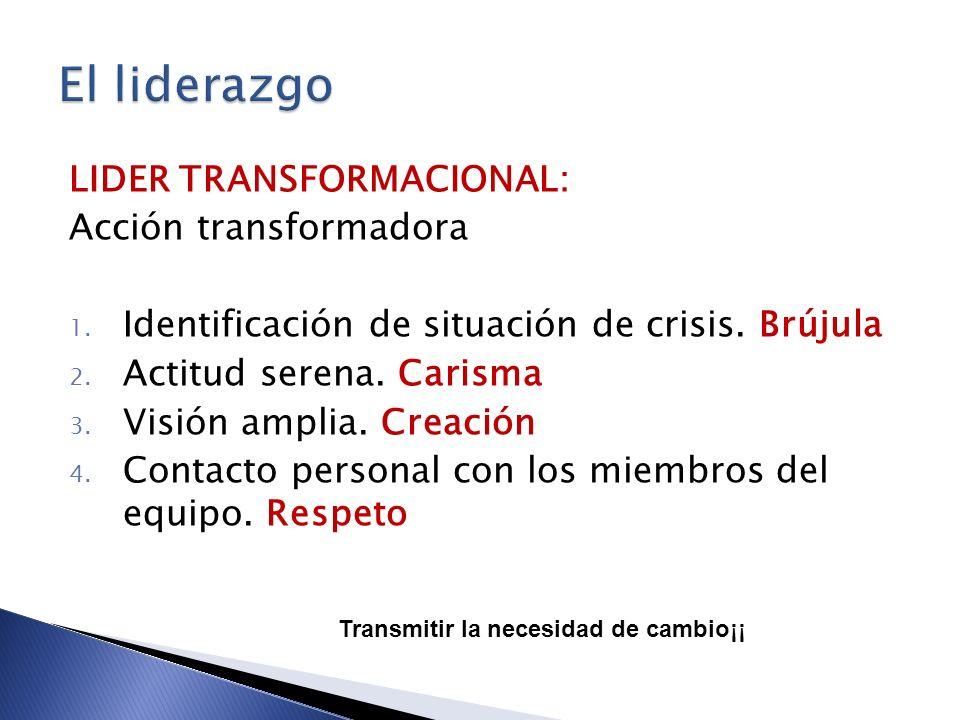 LIDER TRANSFORMACIONAL: Acción transformadora 1. Identificación de situación de crisis. Brújula 2. Actitud serena. Carisma 3. Visión amplia. Creación