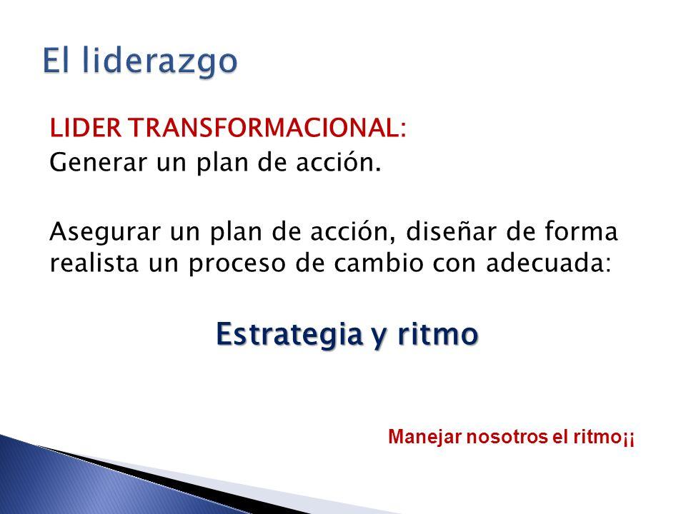 LIDER TRANSFORMACIONAL: Generar un plan de acción. Asegurar un plan de acción, diseñar de forma realista un proceso de cambio con adecuada: Estrategia