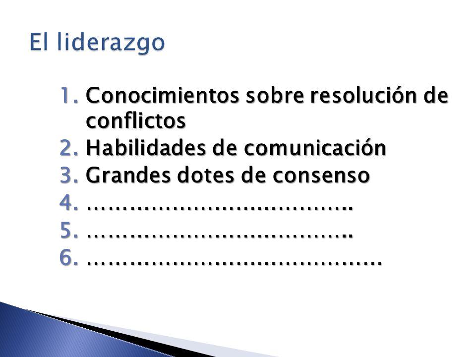 1.Conocimientos sobre resolución de conflictos 2.Habilidades de comunicación 3.Grandes dotes de consenso 4.……………………………….. 5.……………………………….. 6.………………………