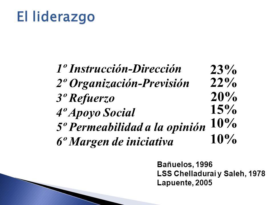1º Instrucción-Dirección 2º Organización-Previsión 3º Refuerzo 4º Apoyo Social 5º Permeabilidad a la opinión 6º Margen de iniciativa 23% 22% 20% 15% 1