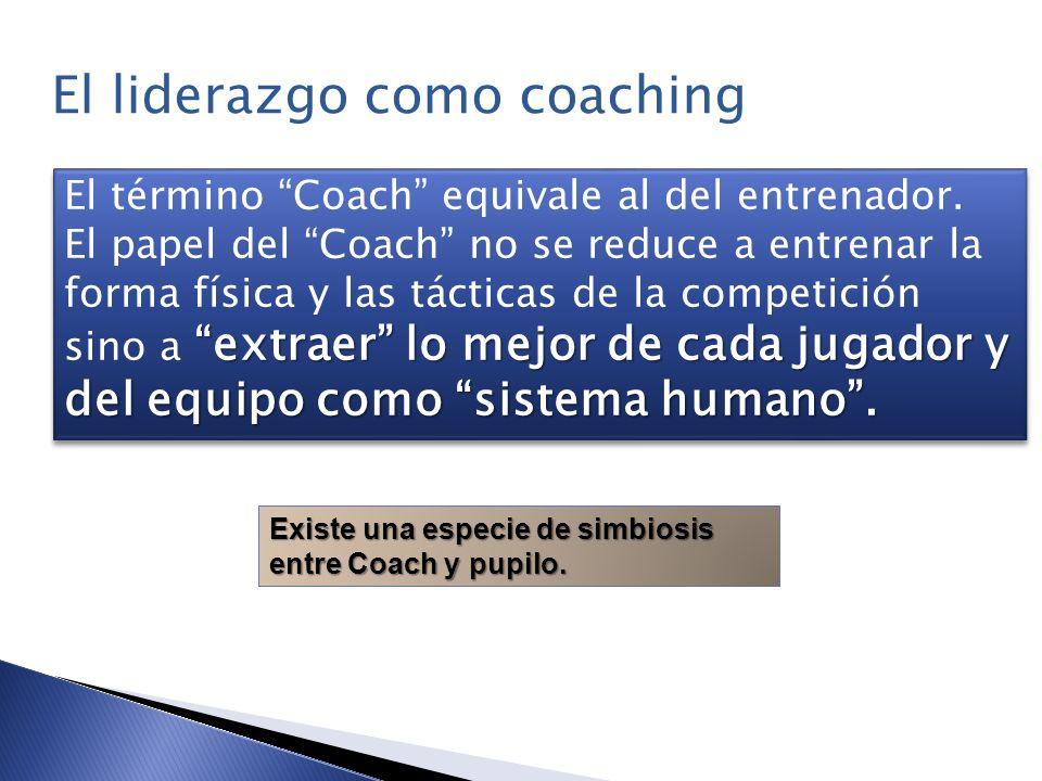 El término Coach equivale al del entrenador. extraer lo mejor de cada jugador y del equipo como sistema humano. El papel del Coach no se reduce a entr