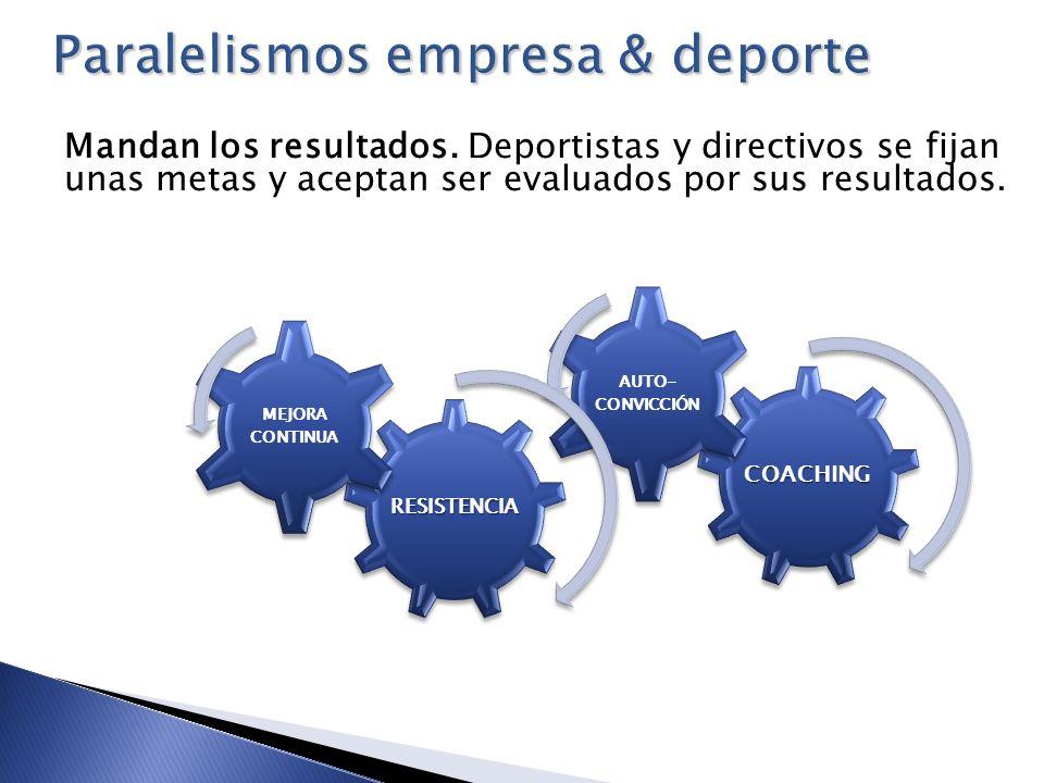 Mandan los resultados. Deportistas y directivos se fijan unas metas y aceptan ser evaluados por sus resultados.