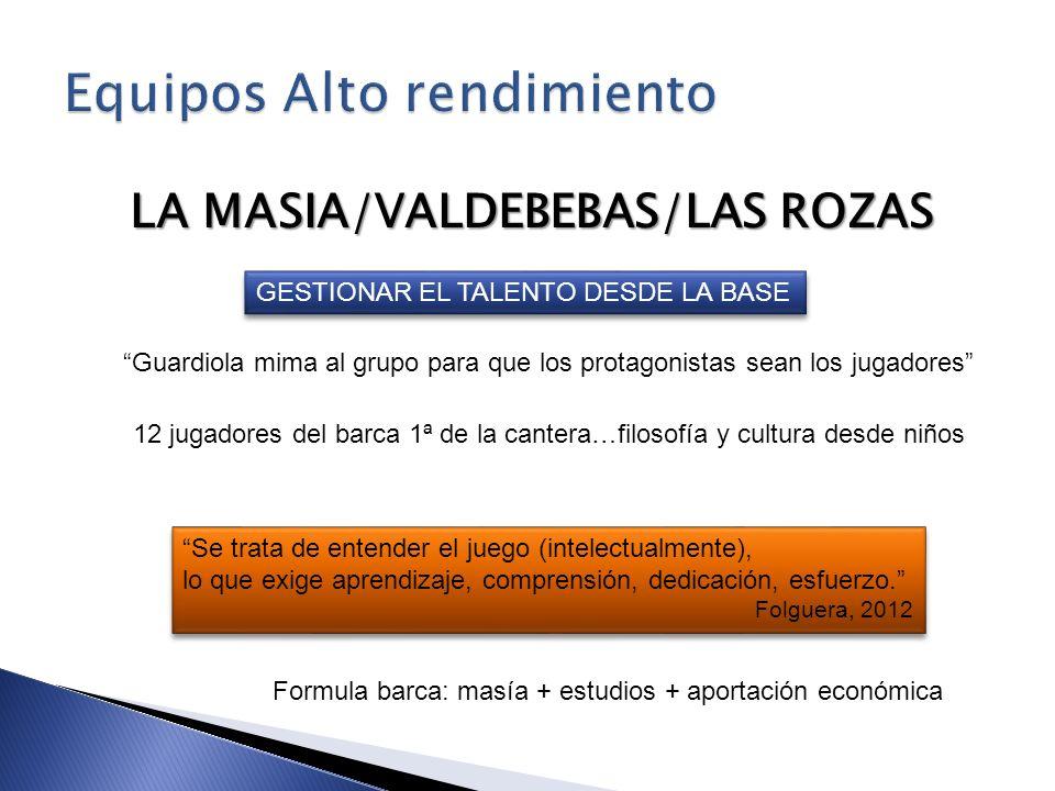 LA MASIA/VALDEBEBAS/LAS ROZAS GESTIONAR EL TALENTO DESDE LA BASE Guardiola mima al grupo para que los protagonistas sean los jugadores 12 jugadores de