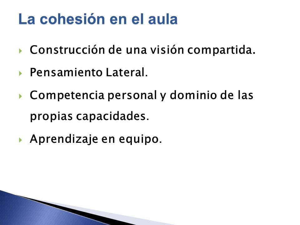 Construcción de una visión compartida. Pensamiento Lateral. Competencia personal y dominio de las propias capacidades. Aprendizaje en equipo. La cohes