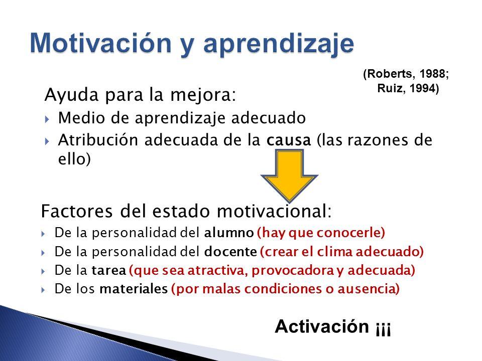 (Roberts, 1988; Ruiz, 1994) Ayuda para la mejora: Medio de aprendizaje adecuado Atribución adecuada de la causa (las razones de ello) Factores del est
