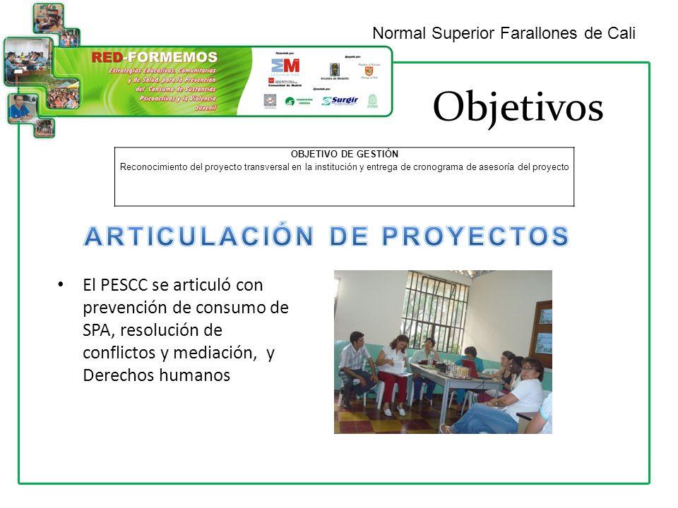 Objetivos Normal Superior Farallones de Cali OBJETIVO DE GESTIÓN Reconocimiento del proyecto transversal en la institución y entrega de cronograma de