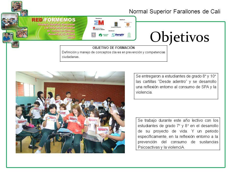 Objetivos Normal Superior Farallones de Cali OBJETIVO DE FORMACIÓN Definición y manejo de conceptos claves en prevención y competencias ciudadanas.