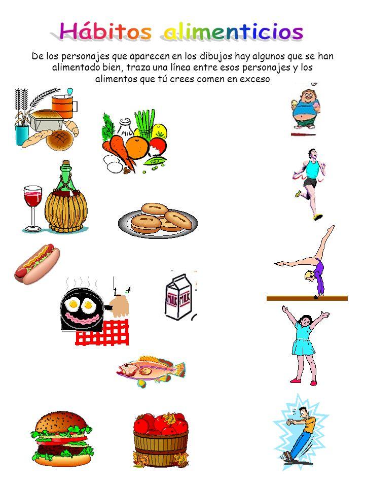 De los personajes que aparecen en los dibujos hay algunos que se han alimentado bien, traza una línea entre esos personajes y los alimentos que tú cre