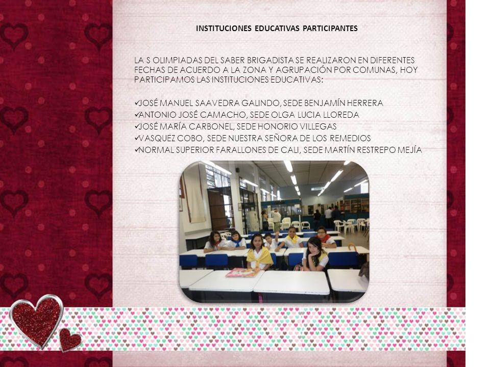 INSTITUCIONES EDUCATIVAS PARTICIPANTES LA S OLIMPIADAS DEL SABER BRIGADISTA SE REALIZARON EN DIFERENTES FECHAS DE ACUERDO A LA ZONA Y AGRUPACIÓN POR COMUNAS, HOY PARTICIPAMOS LAS INSTITUCIONES EDUCATIVAS: JOSÉ MANUEL SAAVEDRA GALINDO, SEDE BENJAMÍN HERRERA ANTONIO JOSÉ CAMACHO, SEDE OLGA LUCIA LLOREDA JOSÉ MARÍA CARBONEL, SEDE HONORIO VILLEGAS VASQUEZ COBO, SEDE NUESTRA SEÑORA DE LOS REMEDIOS NORMAL SUPERIOR FARALLONES DE CALI, SEDE MARTÍN RESTREPO MEJÍA