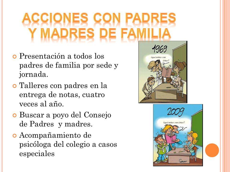Presentación a todos los padres de familia por sede y jornada. Talleres con padres en la entrega de notas, cuatro veces al año. Buscar a poyo del Cons