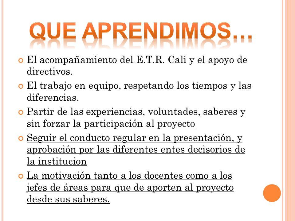 El acompañamiento del E.T.R. Cali y el apoyo de directivos. El trabajo en equipo, respetando los tiempos y las diferencias. Partir de las experiencias