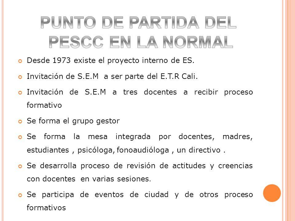 Desde 1973 existe el proyecto interno de ES. Invitación de S.E.M a ser parte del E.T.R Cali. Invitación de S.E.M a tres docentes a recibir proceso for