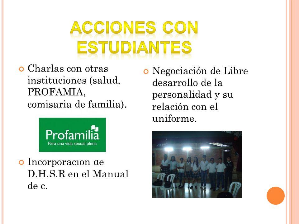 Charlas con otras instituciones (salud, PROFAMIA, comisaria de familia). Incorporación de D.H.S.R en el Manual de c. Negociación de Libre desarrollo d