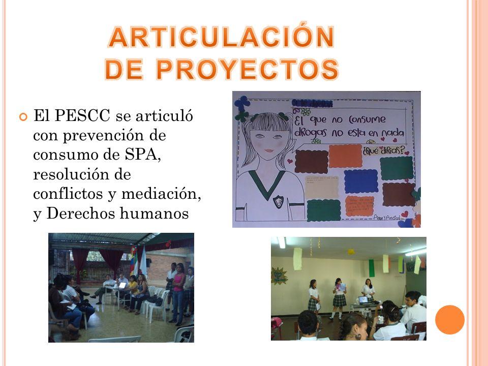 El PESCC se articuló con prevención de consumo de SPA, resolución de conflictos y mediación, y Derechos humanos